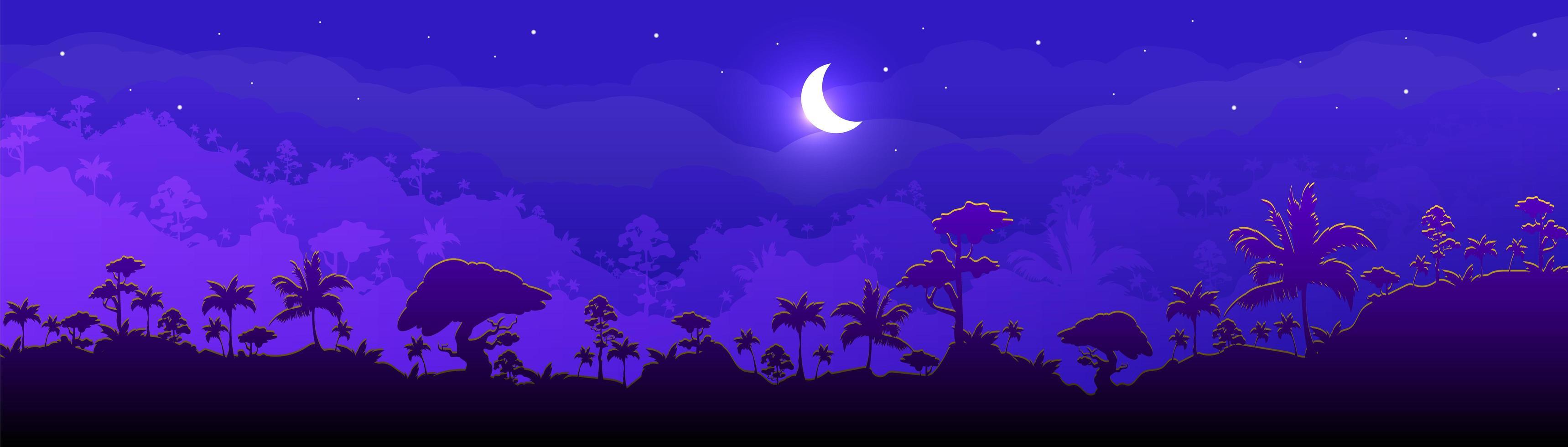 natt skog landskap vektor