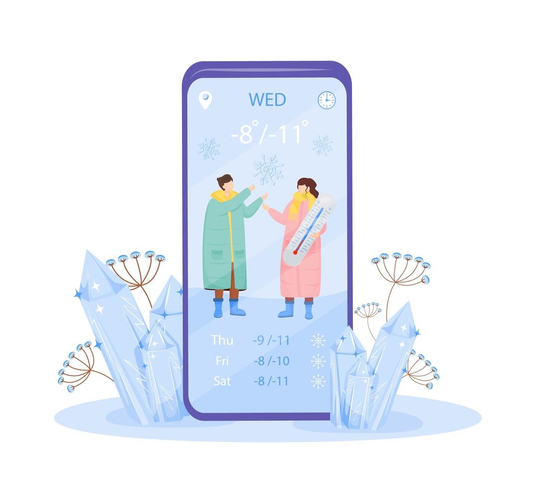 Wetter App auf dem Smartphone vektor