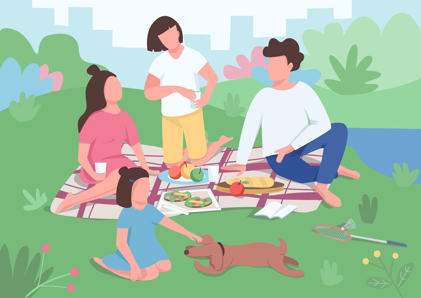 familjens picknick i parken vektor
