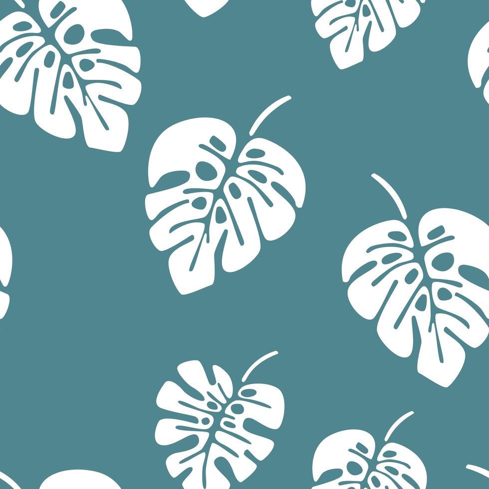 Sommer nahtloses Muster mit weißen Monstera Palmblättern vektor
