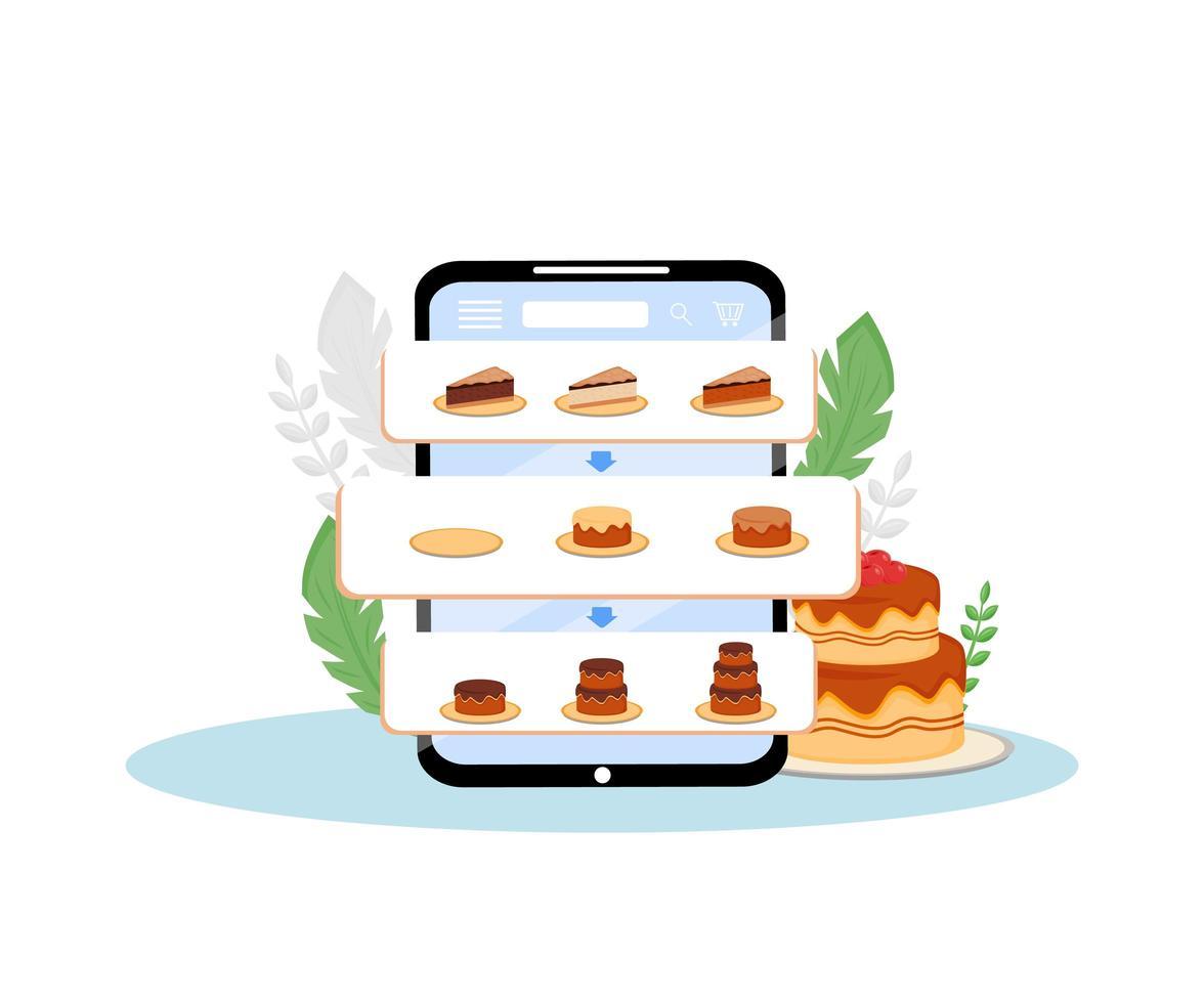Online-Kuchen bestellen mobile Anwendung vektor