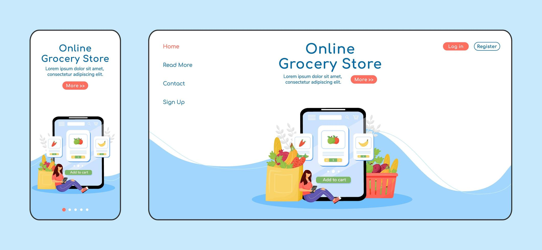 Online-Lebensmittelgeschäft adaptive Landing Page vektor