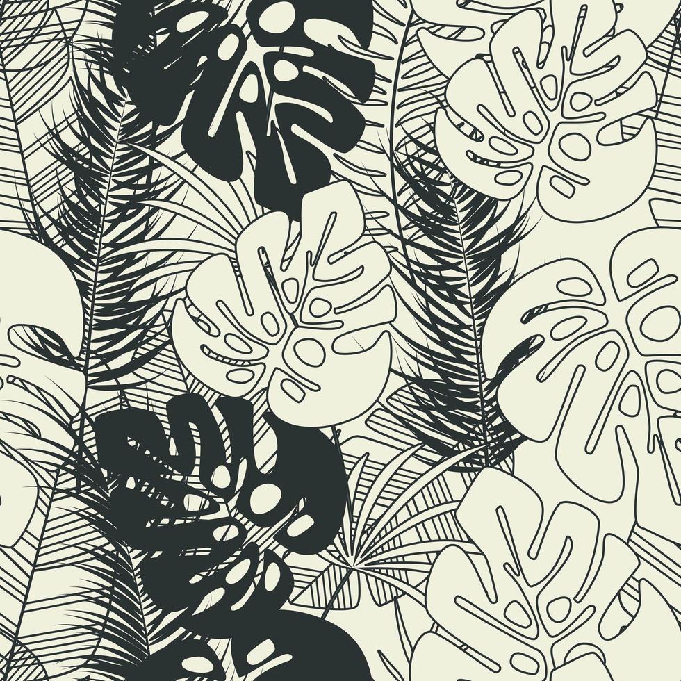 nahtloses tropisches Sommermuster mit Monstera-Palmblättern vektor