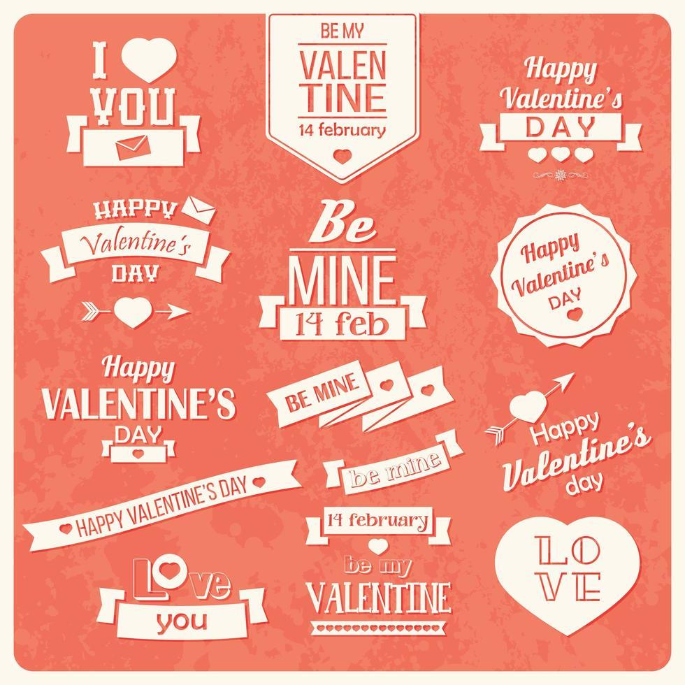 Sammlung von Vintage-Etiketten zum Valentinstag vektor