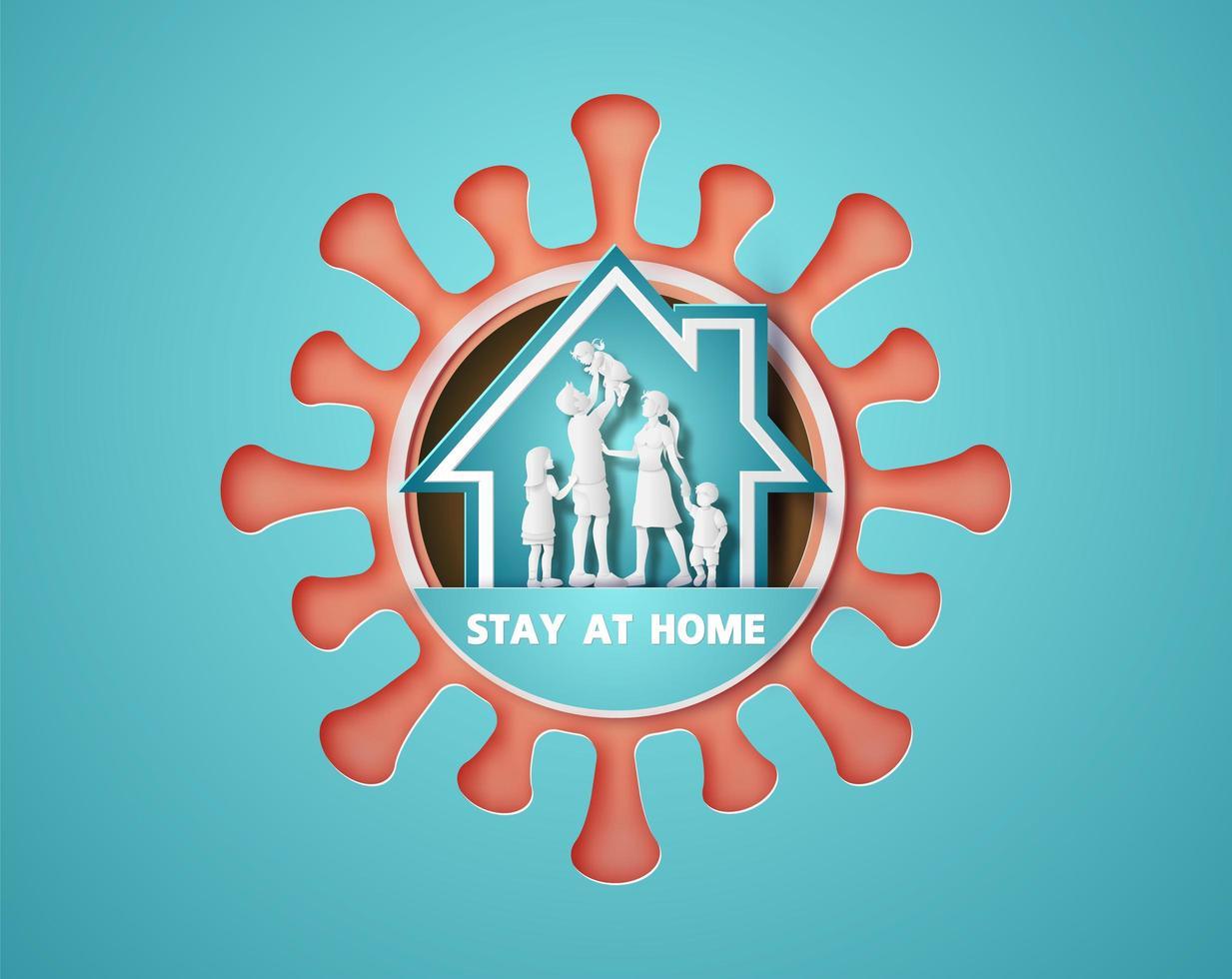 während der Coronavirus-Epidemie zu Hause bleiben. vektor