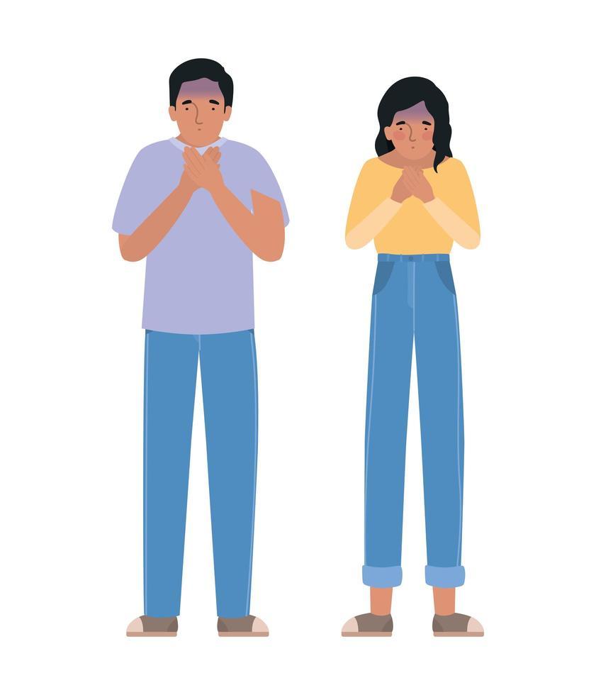 Avatar Mann und Frau fühlen sich schwindelig vektor