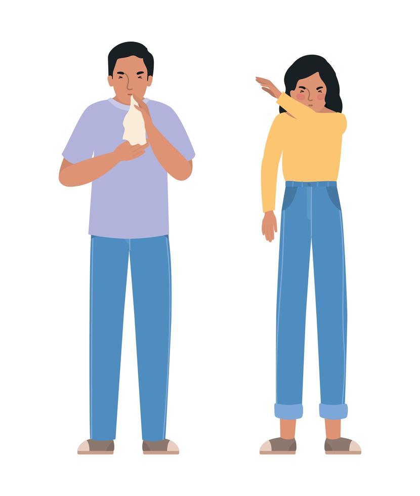Avatar Mann und Frau mit Erkältung und Niesen vektor