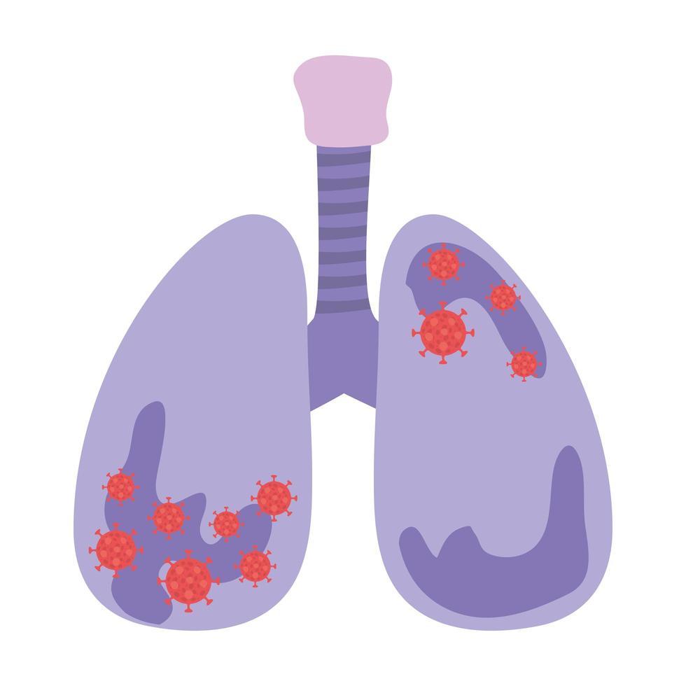 Lungen mit Covid-19-Virus-Design vektor
