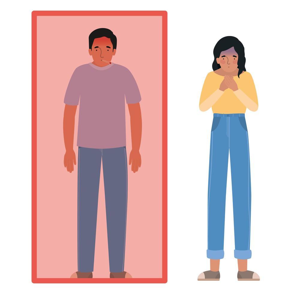 Avatar Mann und Frau mit Fieber in Quarantäne vektor