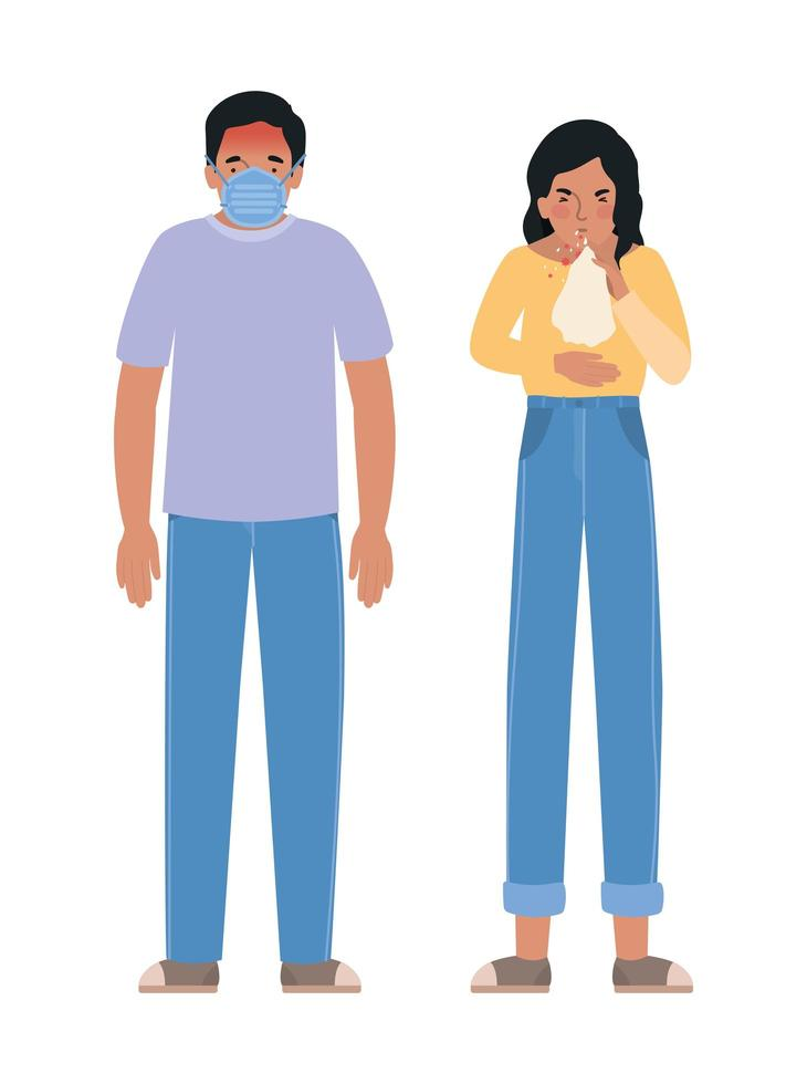 avatarkvinna och man med covid 19-virus vektor