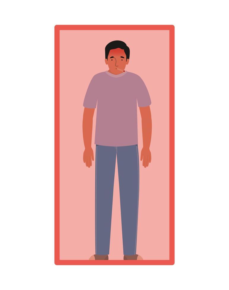 Avatar Mann mit Fieber und Thermometer in Quarantäne vektor