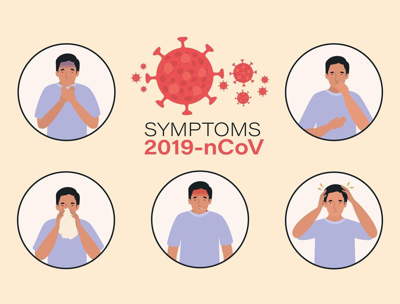 avatar man med 2019 ncov virus symptom design vektor