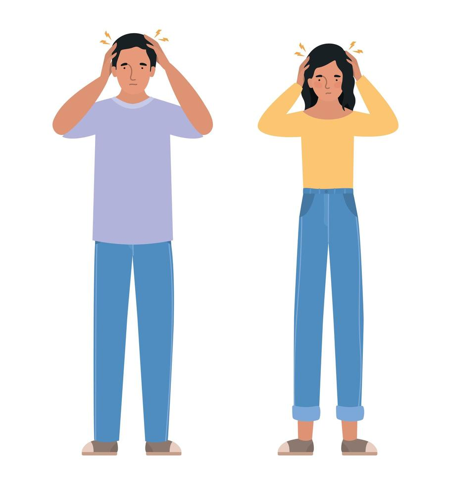Avatar Mann und Frau mit Kopfschmerz Design vektor