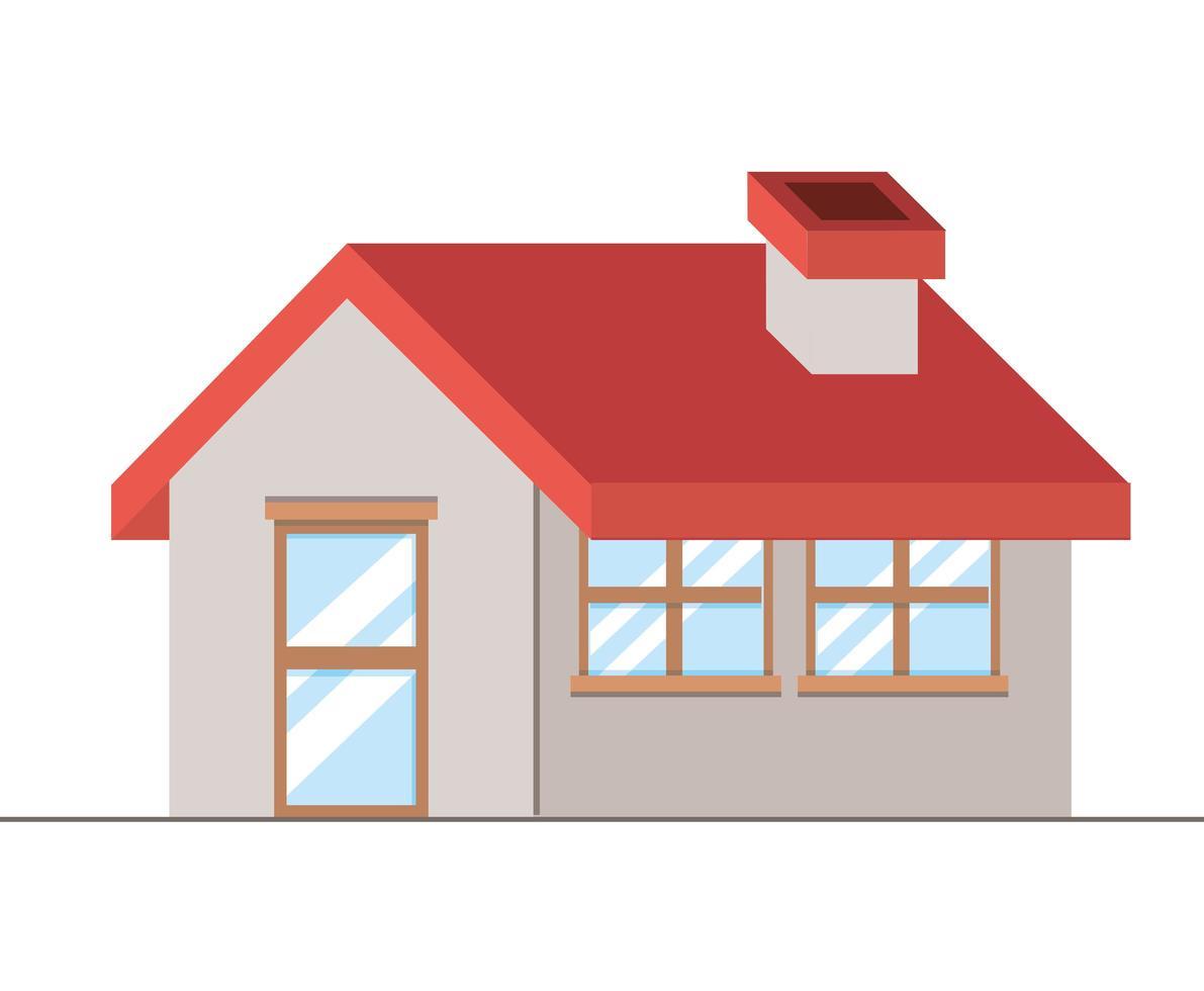 isoliertes Haus mit Fenster- und Türgestaltung vektor