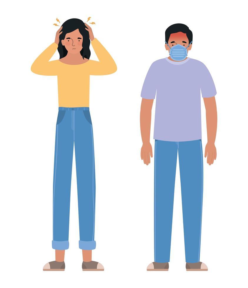Avatar Mann und Frau mit Kopfschmerzen und Maske vektor