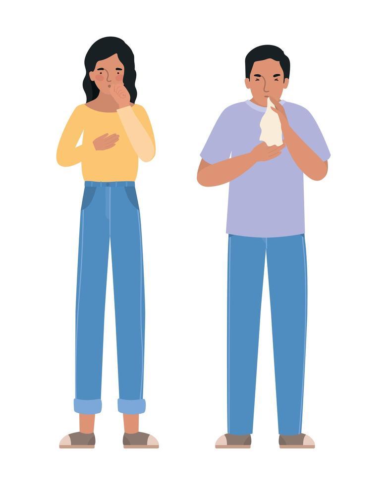 Avatar Mann und Frau mit trockenem Husten vektor