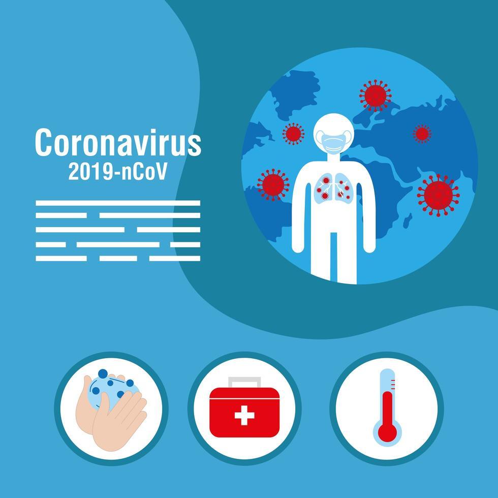 coronavirusförebyggande banner med medicinska ikoner vektor