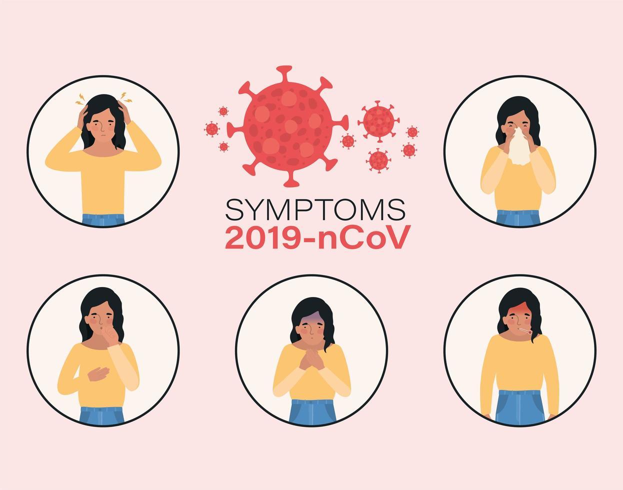 avatar kvinna med 2019 ncov virus symptom design vektor