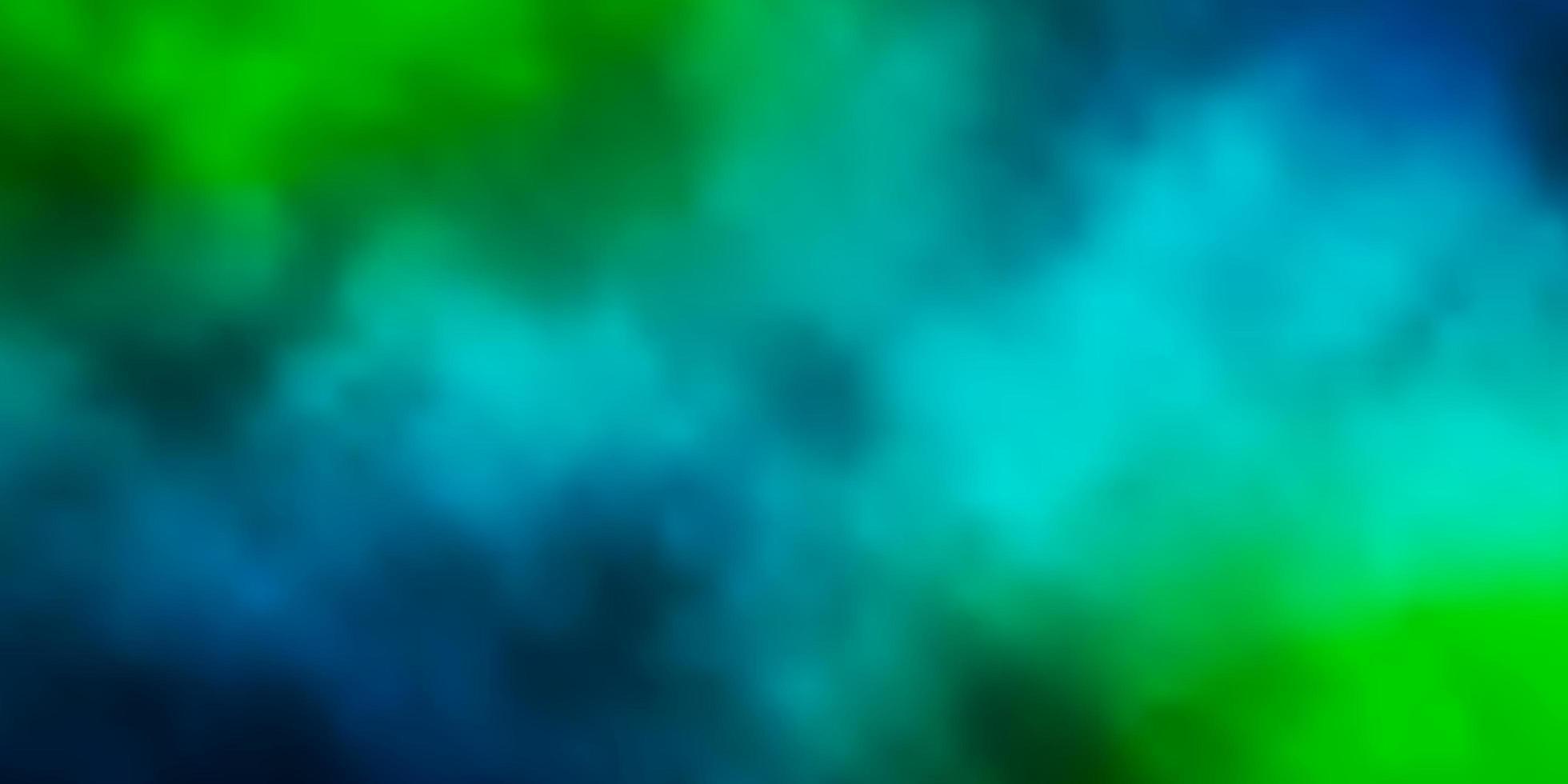 dunkelblaues, grünes Layout mit Wolkenlandschaft. vektor