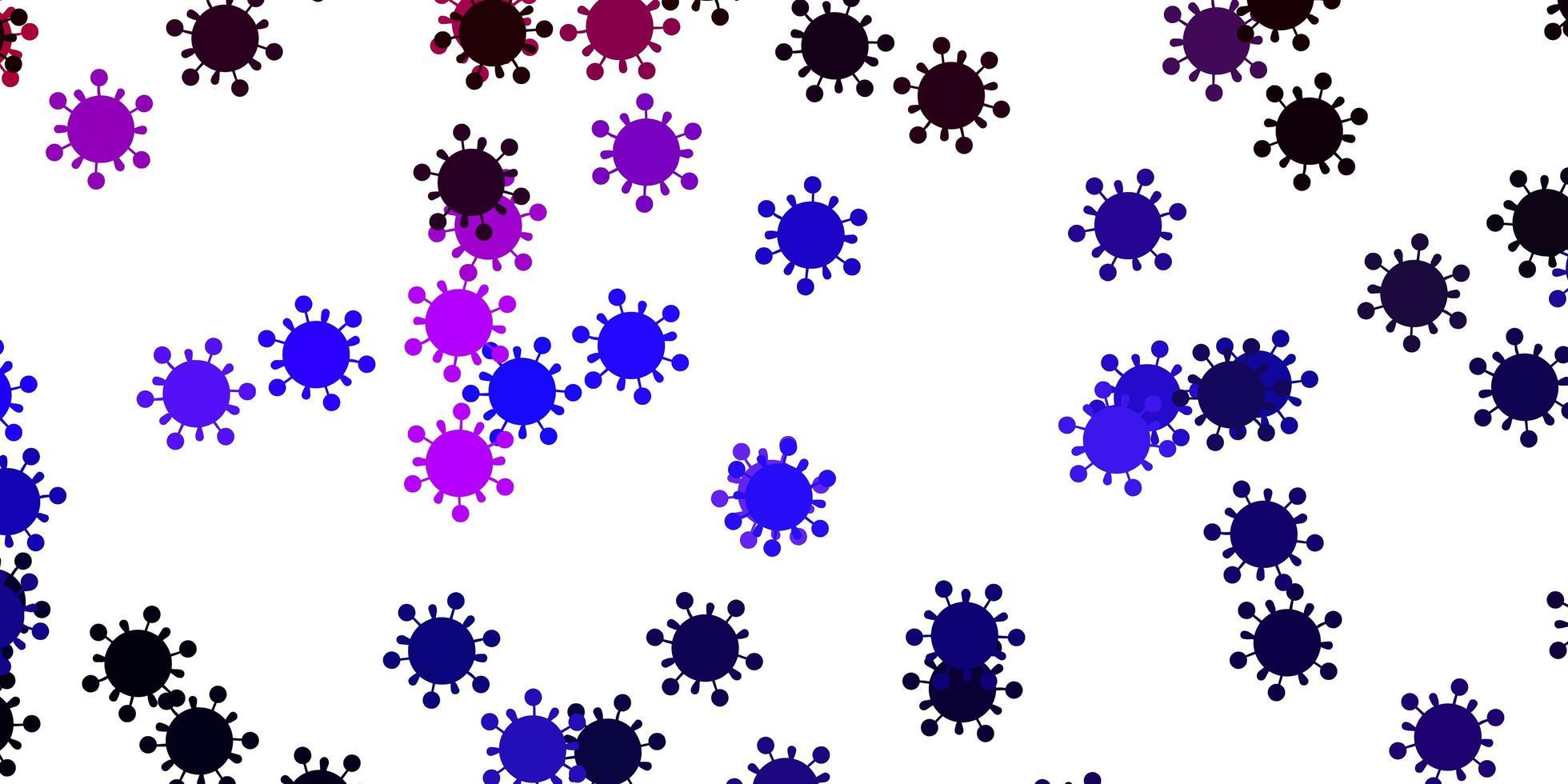 ljuslila bakgrund med covid-19 symboler. vektor