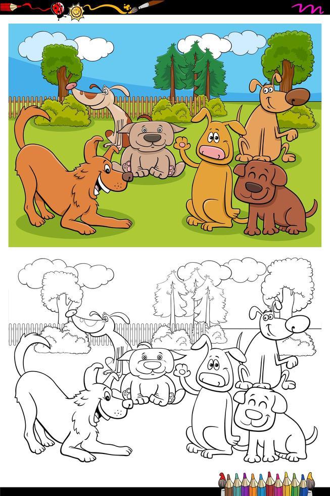 hundar seriefigurer grupp målarbok sida vektor