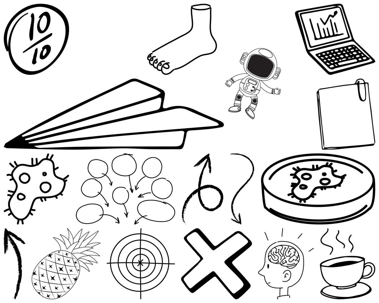 uppsättning objekt och symbol handritad klotter vektor