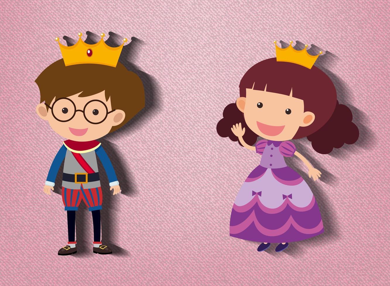liten prins och prinsessa seriefigur på rosa bakgrund vektor