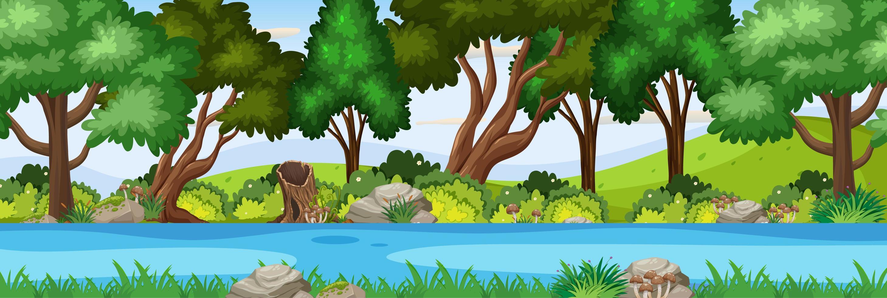 flodplats i skogen horisontell scen vektor