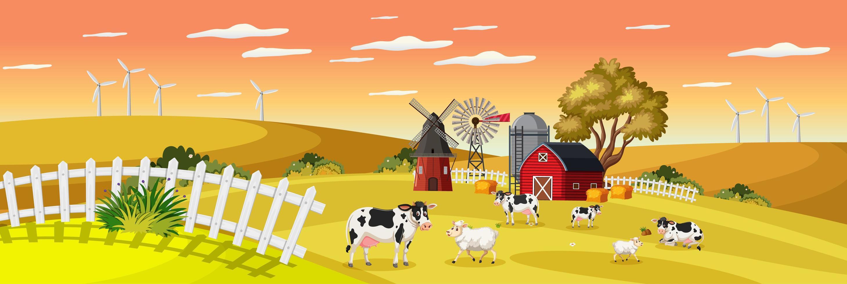 gårdlandskap med djurgård i fält och röd ladugård under höstsäsongen vektor