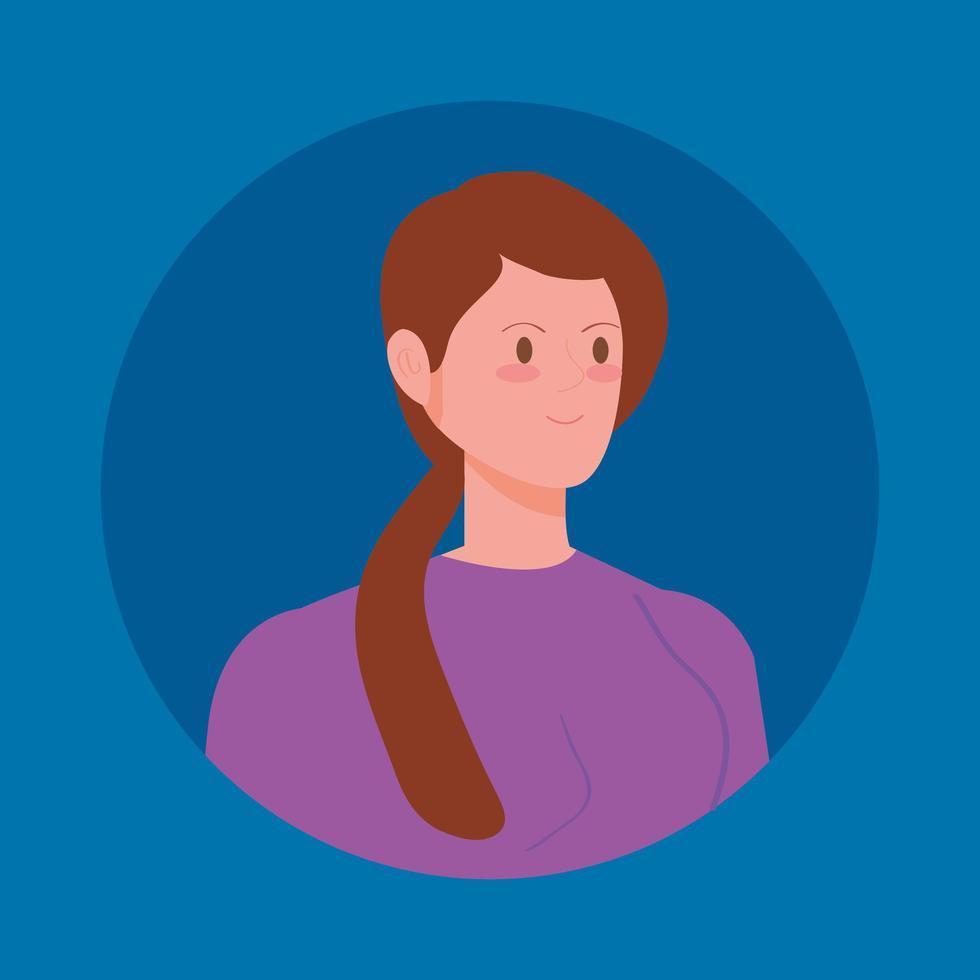 rund avatar med ung kvinna vektor