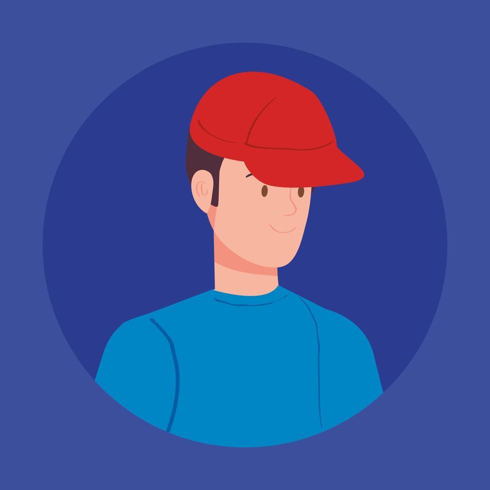 rund avatar med ung man vektor