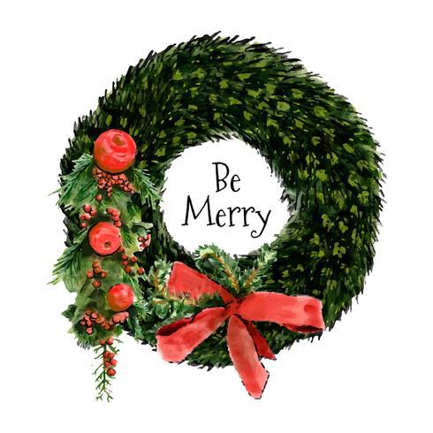 Akvarell julkrans med prydnader och blommor vektor