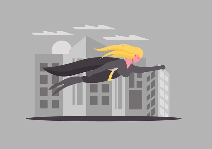 Superwoman, der über Stadt-Vektor fliegt vektor