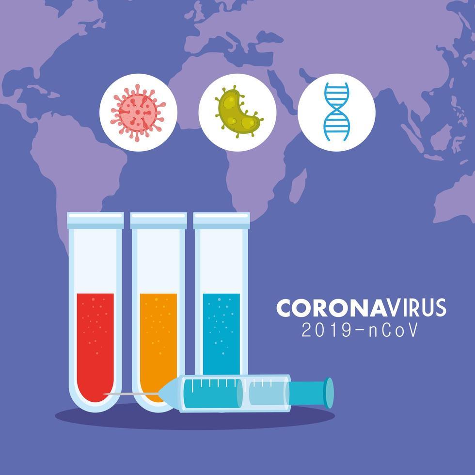 coronavirus medicinsk banner med provrör vektor