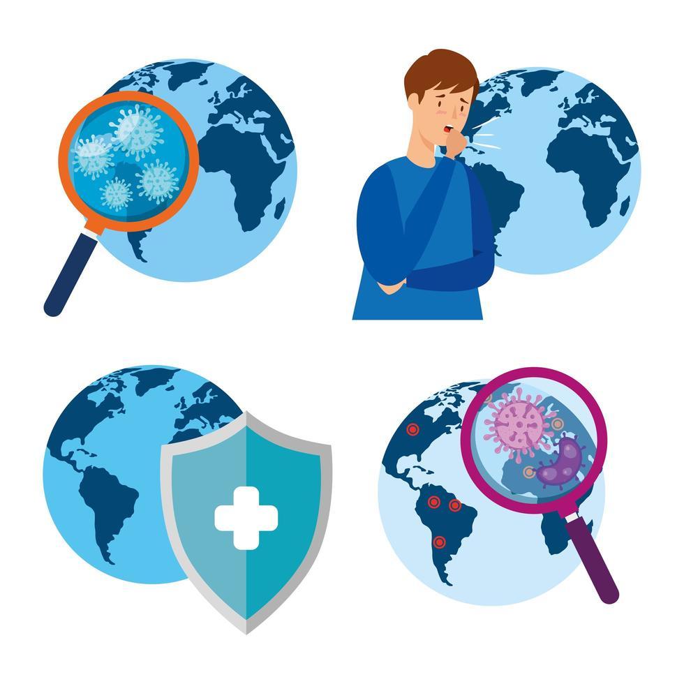 världspandemi och virusinfektion ikonuppsättning vektor