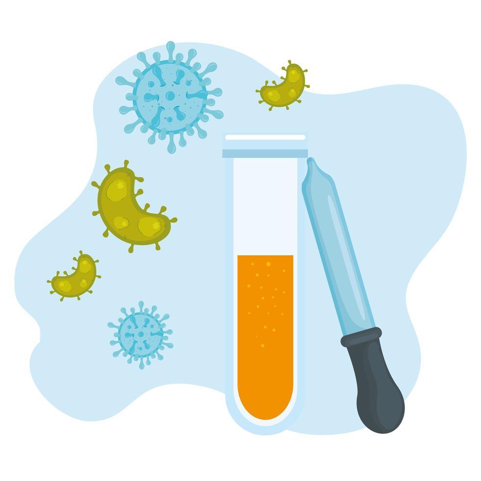 provrör och dropperikon med koronavirus vektor