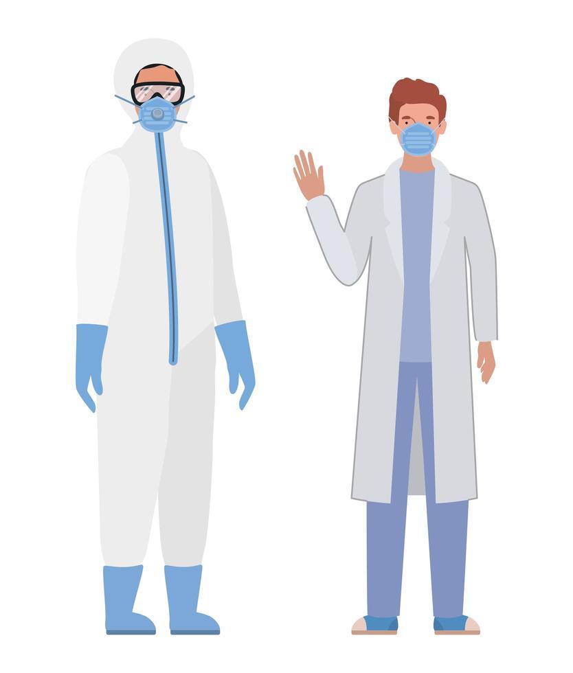 Ärzte mit Schutzanzügen Brille und Maske vektor