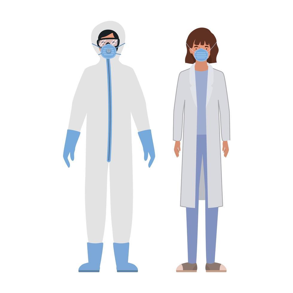 Ärzte mit Schutzanzügen Brille und Maske gegen Covid 19 vektor