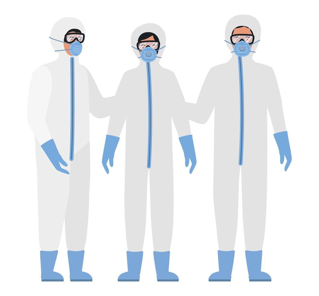 läkare med skyddsdräkter glasögon och masker mot covid 19 vektor