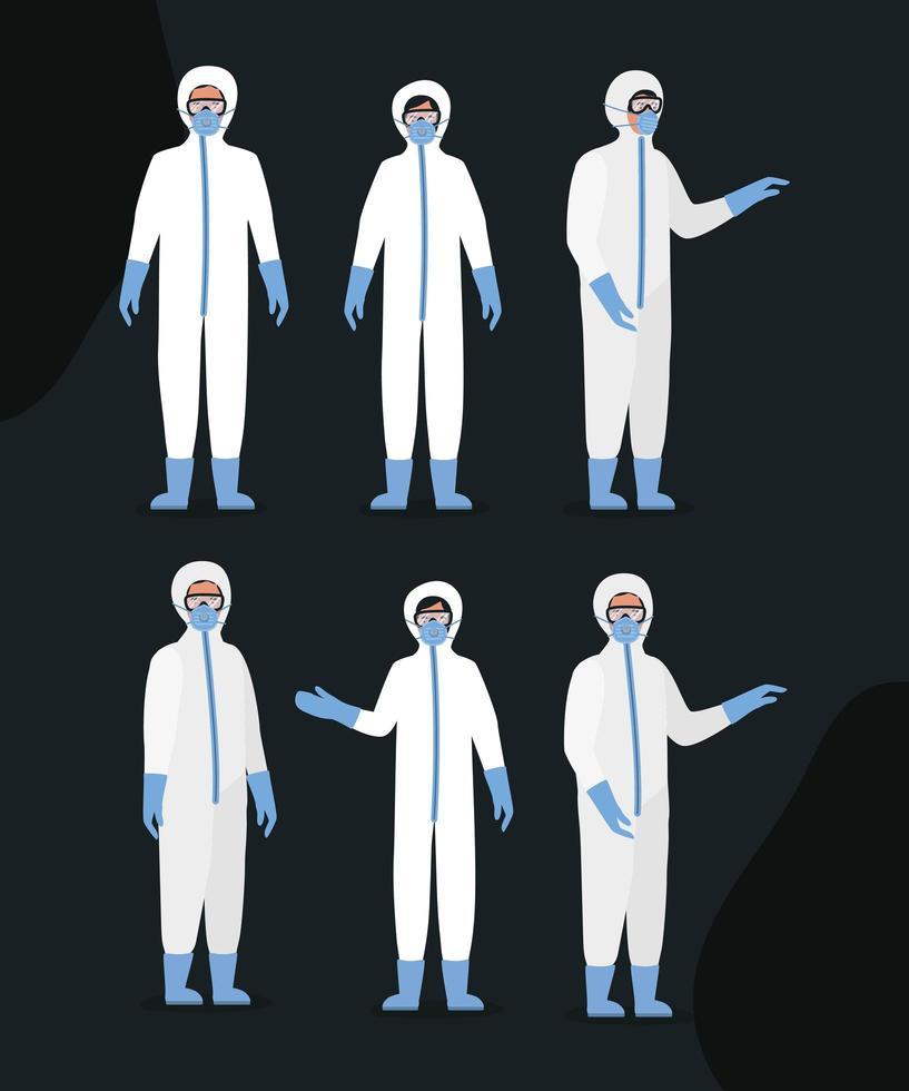 läkare med skyddsdräkter glasögon och masker vektor