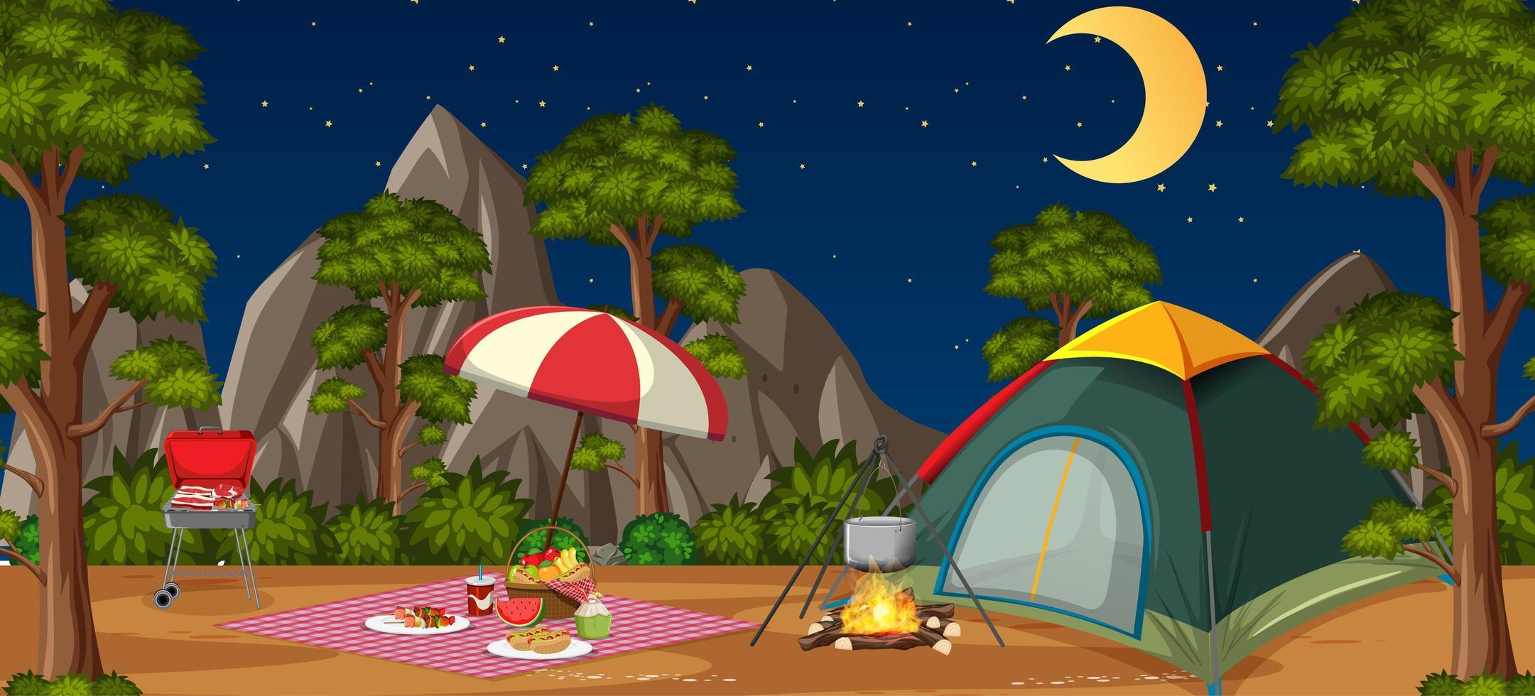 Camping oder Picknick im Naturpark bei Nacht vektor