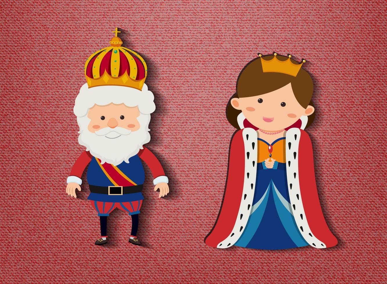 kung och drottning seriefigur på röd bakgrund vektor