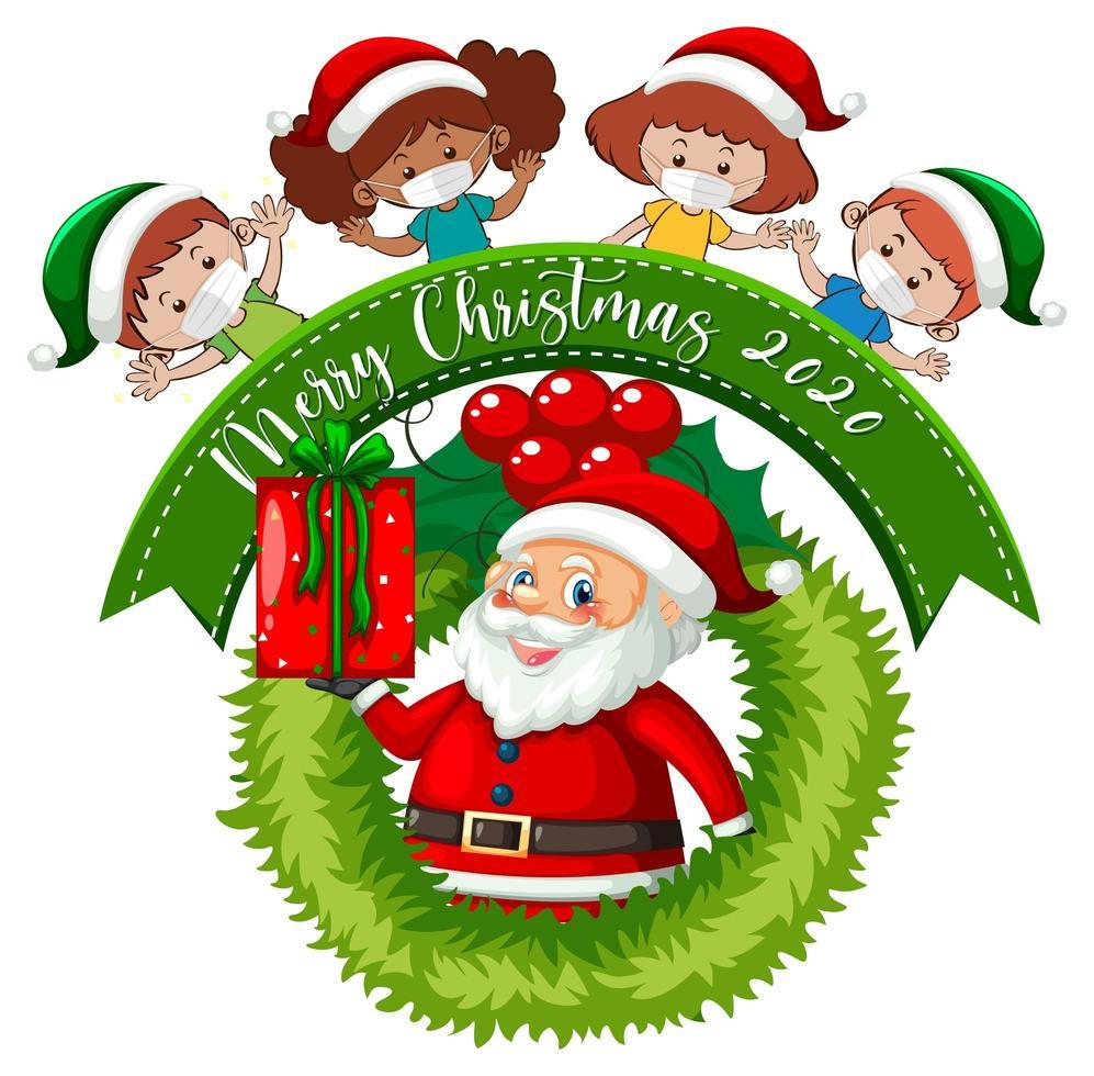 god jul banner med barn som bär mask vektor