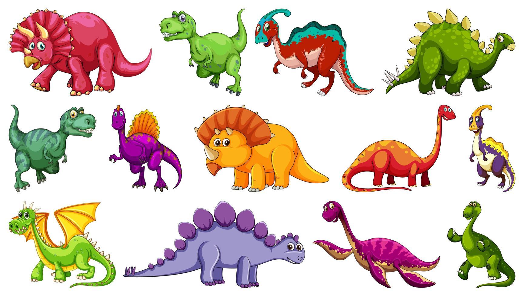 uppsättning av olika dinosaurie seriefigurer vektor