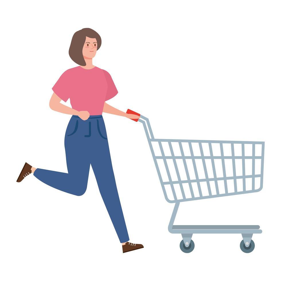 Frau läuft mit Einkaufswagen vektor