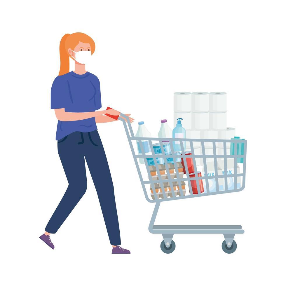 kvinna med kundvagn full av livsmedel vektor