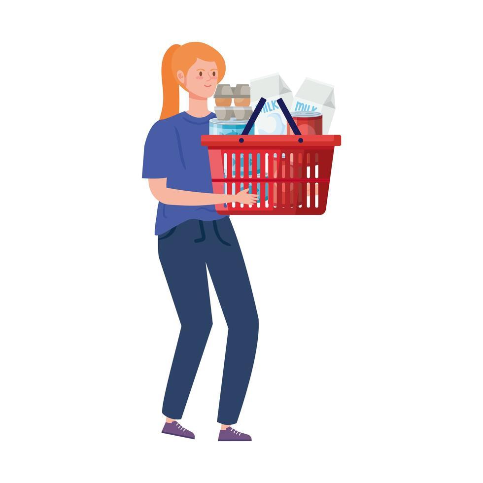 kvinna med varukorgen full av livsmedel vektor