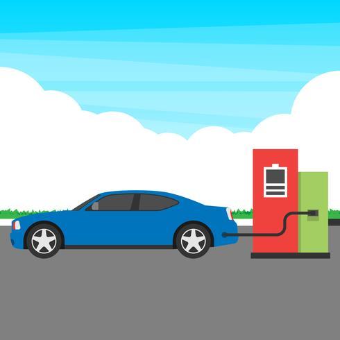 Elektrisk bil laddningsstation koncept illustration vektor