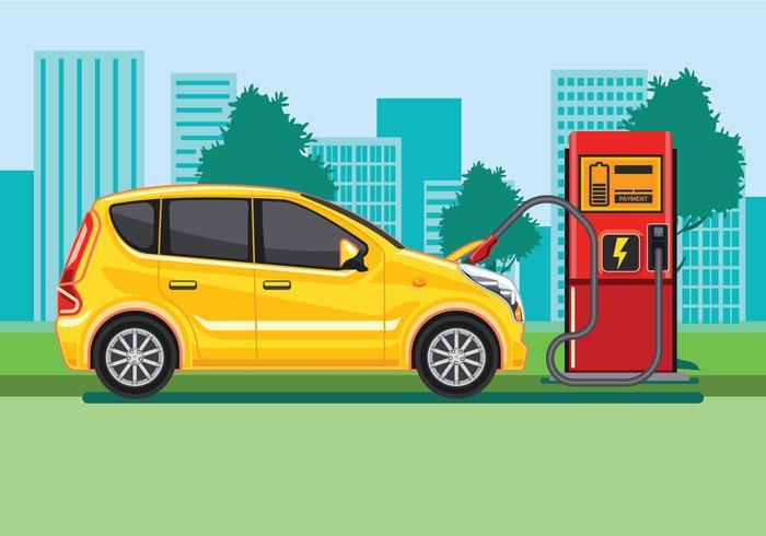 Elektrisk bil laddningsstation koncept vektor