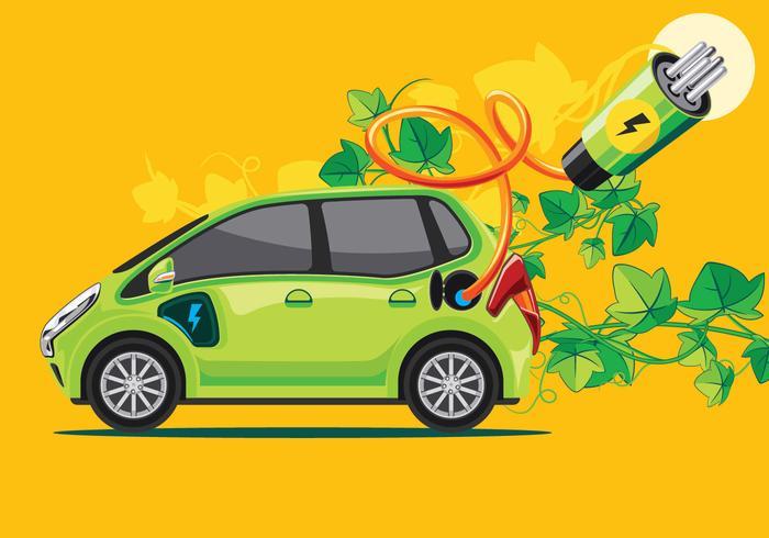 Grünes Auto oder elektronisches Auto vektor